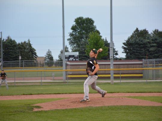 Nathan Yagodinski pitched for the Lakers against Wrighttown on Tuesday.