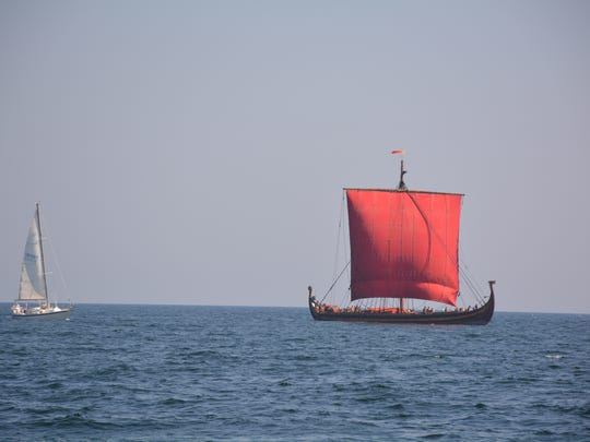 The Viking ship Draken Harald Hartagre waits to sail into the Sturgeon Bay Ship Canal..