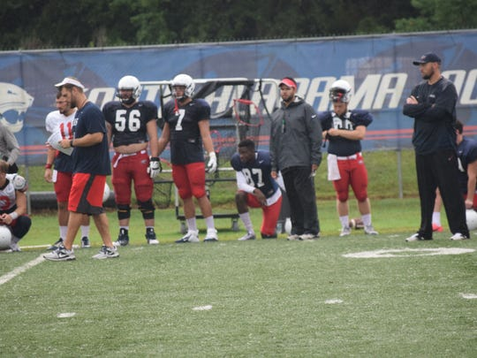 Corliss Waitman (87) watches teammates practice Thursday at South Alabama. The Milton High graduate is in line to be the punter after two injury filled seasons.