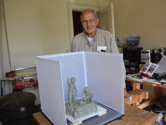 Dr. William Faller is creating a bronze sculpture of Native American boys fishing to represent the importance of clean water.