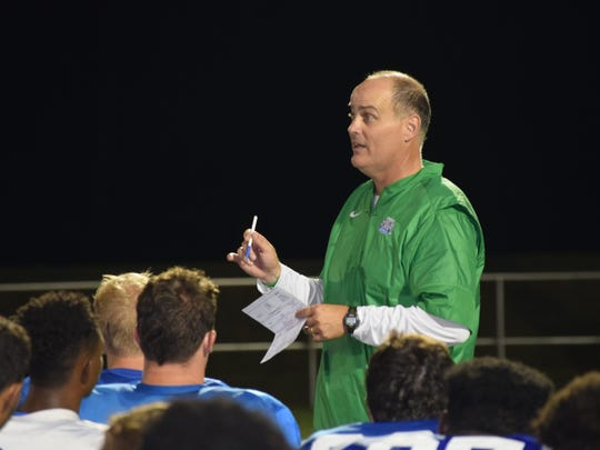 UWF coach Pete Shinnick talks to his team following Friday night's scrimmage. Argos open season on Sept. 3.