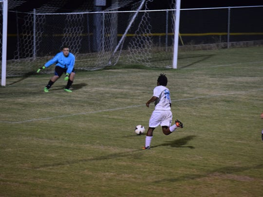Brave Willie Matthews attempts a goal during Thursday's