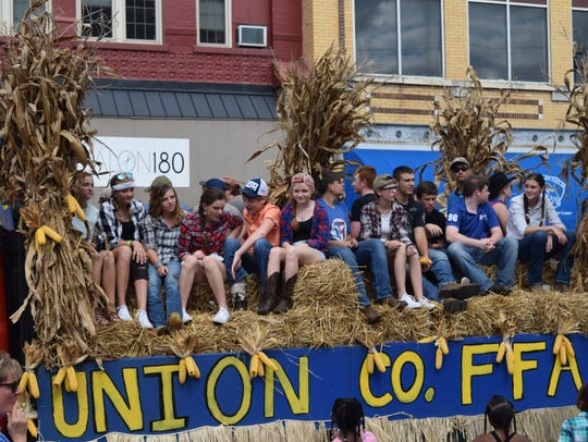 Union Co. FFA in the Corn Festival Parade 2016.