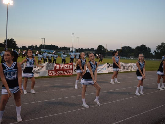 UCMS cheerleaders at last Tuesday's football game.