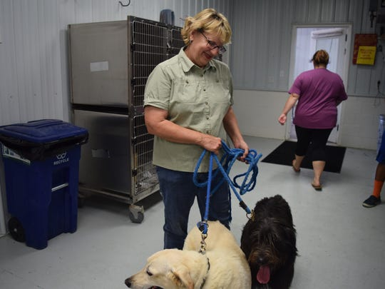 Julie Downen attended the clinic with her two dogs.