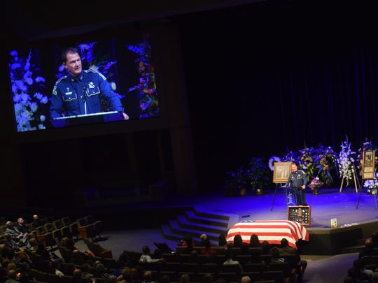 Louisiana State Police superintendent Col. Mike Edmonson speaks at the funeral service for trooper Bobby Smith held Thursday at Calvary Baptist Church in Alexandria.