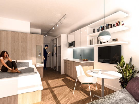 Rendering shows layout of a micro loft unit at the