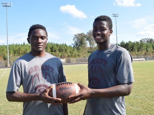 Grant High School players Rodara Ellis (left) and Deante Lacour.