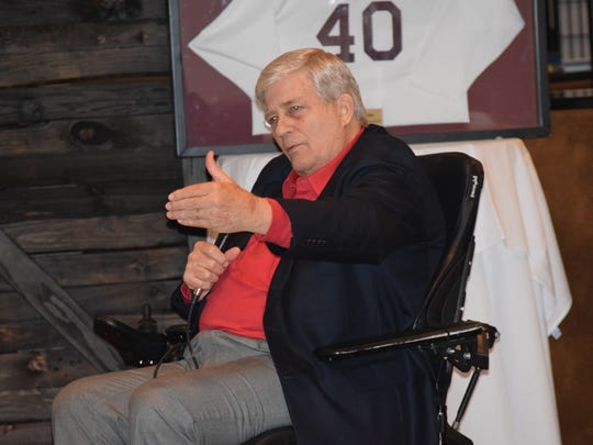 Kay Stephenson, who was the quarterback/halfback on several of Pensacola High's greatest teams a half century ago, was honored Thursday night at his jersey retirement.