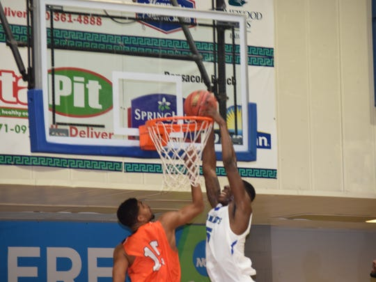UWF's Deangelo Legrier slams home a dunk against Auburn-Montgomery during the Argos. win Saturday night.