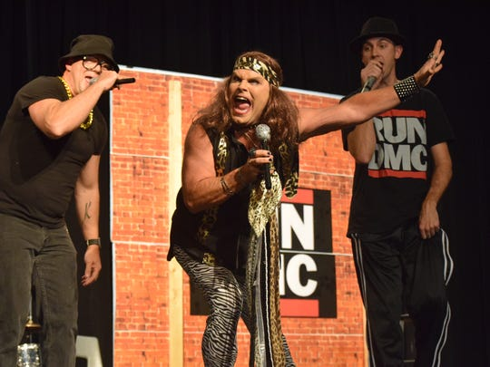 """Robbie Greenwell, Timmy Floyd and Jacob Hancock finished the night out strong by performing """"Walk This Way"""" as Aerosmith and Run DMC."""