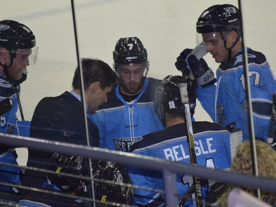Ice Flyers coach Kevin Hasselberg and his players had a frustrating loss Friday night in Huntsville.