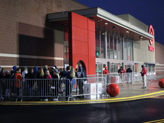 Shoppers line up outside Target store in Vestal at 5 p.m. Thanksgiving evening, about an hour before the store opened.