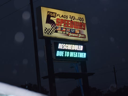Only gloom and doom existed late Monday afternoon at Five Flags Speedway after a second day of heavy rain force another delay for the 49th Snowball Derby.