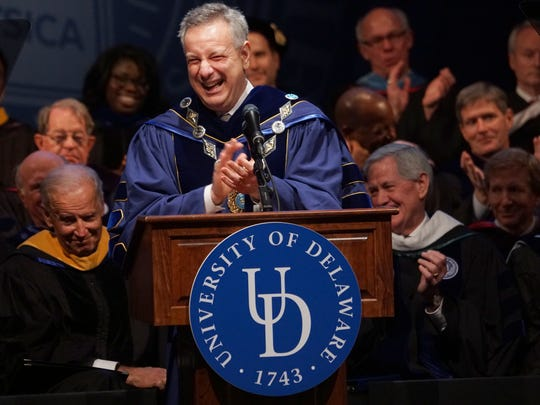 The University of Delaware's  28th president, Dennis Assanis, laughs during his inaugural address in December.