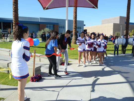 Students at Indio High School celebrate the opening