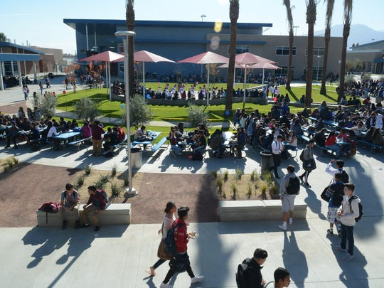Students at Indio High School enjoy lunch on the quad on Friday, Jan. 6, 2017.