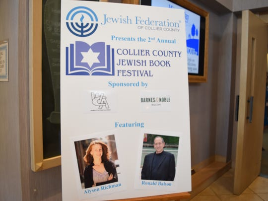 A sign welcomes book lovers to event featuring bestselling authors Alyson Richman and Ronald H. Balson at Temple Shalom of Naples. The event on Jan. 11, 2017 was one of 12 part of the second annual Collier County Jewish Book Festival.