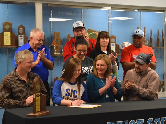 Union County High School Senior Kailey Jones signs to play collegiate softball at Southeastern Illinois College.
