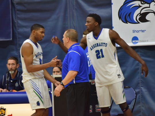 Marvin Jones (4) and Darryl Tucker (21), shown in an earlier game this season, helped lead UWF to a 90-81 win Thursday night against Lee University to move to 19-8 overall this season.