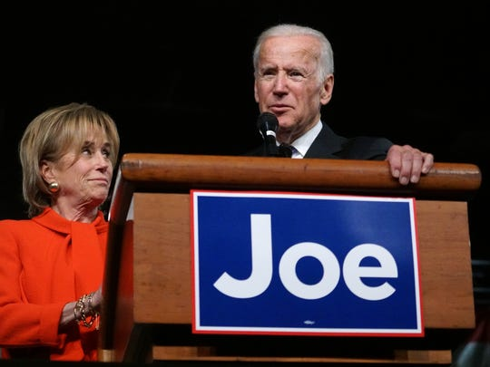 Sister Valerie Biden stands next to her brother from Vice President Joe Biden as he honored her at his welcome home to Wilmington rally Friday, Jan. 20, 2017 after leaving office.