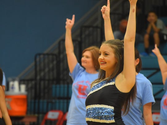 Macy Crump performs during half time on Saturday night.