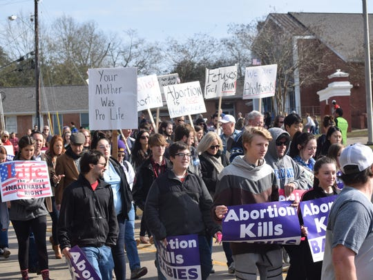 Participants in the Louisiana Life March held Saturday.