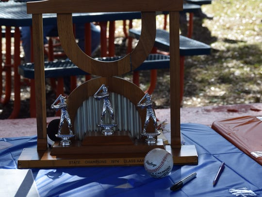 The 1974 state championship baseball trophy won by Escambia High was part of display Saturday in ceremony honoring the 1972 and '74 state championship teams.
