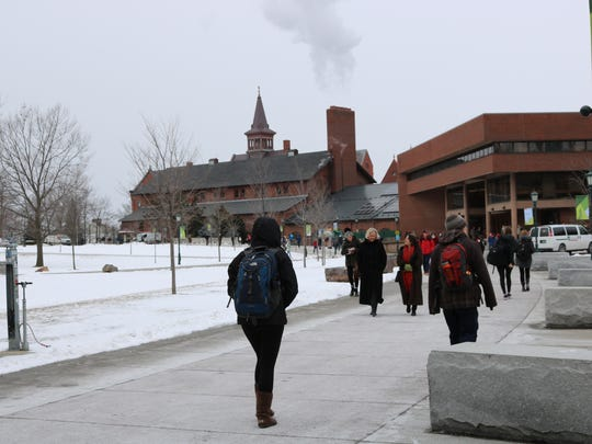 Monday, Feb. 6, 2017 was a day of mised weather on campus at the University of Vermont.