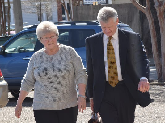 Margaruette Beard (left) arrives with her attorney George Higgins at the Federal Courthouse in downtown Alexandria Thursday. Beard was arrested in January 2016 by Louisiana State Police after it was discovered that she allegedly took cash while she worked at the Rapides Parish District Attorney's Office for decades.