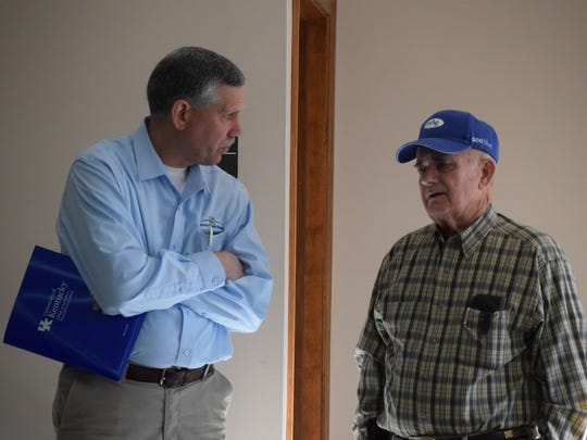 Paul Loxley and Rankin Powell share a conversation during Grain Day.