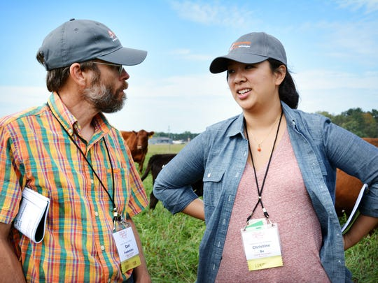 Christine Su the CEO and founder of PastureMap in the fields.