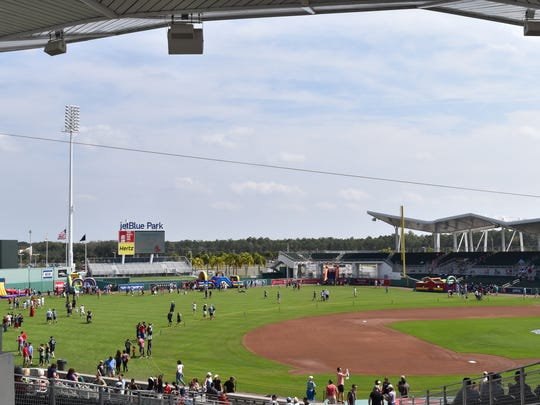 A view of the baseball field at Fort Myers' Jetblue Park. Hundreds of fans flocked to the park for a free, open house to watch Boston Red Sox players practice during spring training on Feb. 18, 2017.
