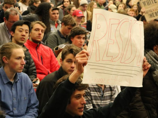 Middlebury College Students protest controversial speaker Dr. Charles Murray on March 2, 2017.