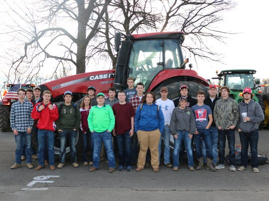 Pictured above are our students [left to Right] Mason Weldon, Will Ratley, Hunter Robinson, Avery Weldon, Savannah Owens, Drake Shirel, Sam Brown, Ben Owen, Dalton French, Josh Girten, Gage Clements, Gavin Nelson, Morgan Day, Billy Pride, Jakob Spear, Kyle Shirel, and Hunter Nalley who drove their tractors to school on Friday to end our National FFA Week celebrations.