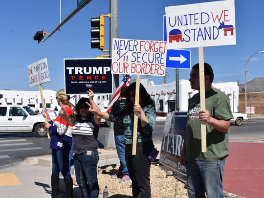 Republic Party of Otero County members and supporters from across the state gathered on the corners of 10th Street and White Sands Boulevard to show their support for President Trump.