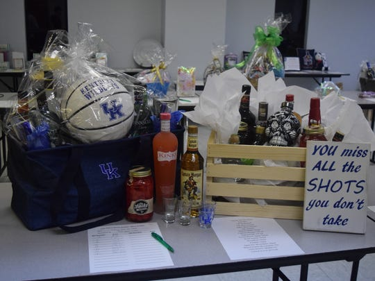 "This ""Taking All the Shots"" themed basket was donated by the John Paul II 5th grade class."