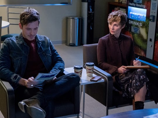 """Clare Bowen as Scarlett in a scene from CMT show """"Nashville,"""" with Gunnar, played by actor Sam Palladio"""