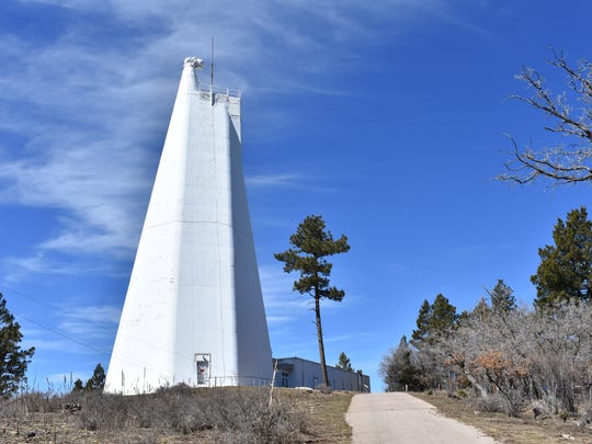 The Dunn Solar Telescope contains an entrance window and two mirrors that guide the light of the sun down the tower in an evacuated tube from which the air has been removed. The tower is 136 feet tall, but the building has 228 more feet below ground.