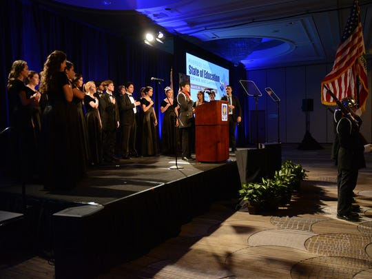 "Palm Desert High School's Choir and ROTC color guard performed the national anthem during the Riverside County annual ""state of education"" address on March 10, 2017."