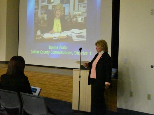 Nearly 100 full-time and seasonal Naples residents listen to District 1 Collier County Commissioner Donna Fiala speak during her second town hall at South Regional Library on March 16, 2017.