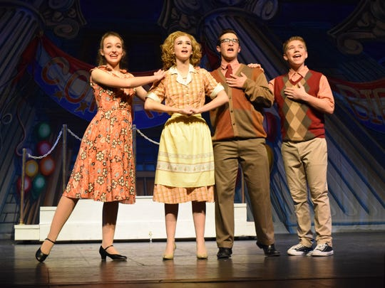 "Spencer Stelly (far right) a graduating senior at Holy Savior Menard High School, has been selected as a winner of the National Merit $2,500 scholarship. He and Claire Ann Miller (far left), Miranda Hawthorne and William Sadler perform in Menard's production of ""Bye, Bye Birdie."""