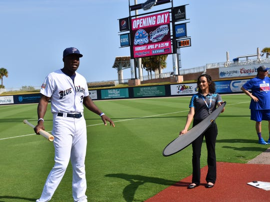 Blue Wahoos high touted prospec, right fielder Aristedes