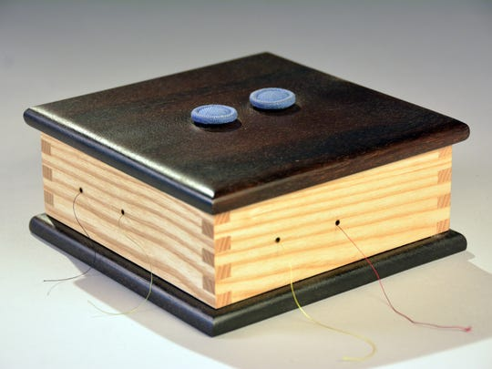 Jeff Johnson's wooden box is featured in the exhibit.