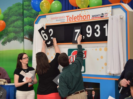 Easter Seals staff changes the scoreboard for the 40th annual telethon Sunday. The organization's goal was $1.05 million.
