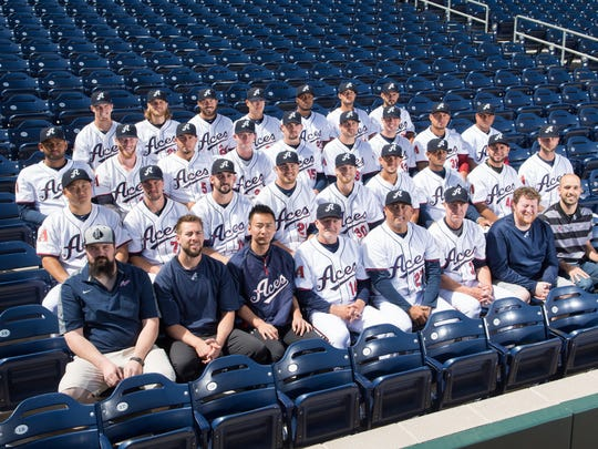 The Reno Aces pose for a team photo at media day on April 4 at Greater Nevada Field.