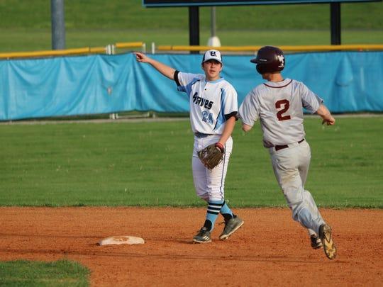 Coy Burns signals his teammate.