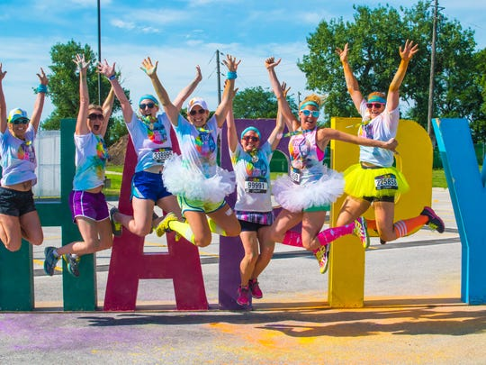 Participants show their spirit at the Color Run in Des Moines in 2016.