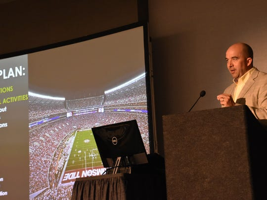 Jeff Allen, director of sports medicine at the University of Alabama, dthe severity of turf toe injuries during the 12th annual Andrews Institute Injuries in Football Conference at the Pensacola Beach Hilton.