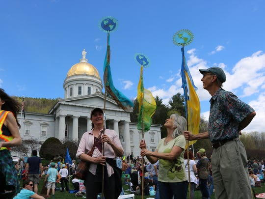 Beth Miller, Leslie Silver and Michael Beattie all of Middletown Springs, Vermont were in Montpelier for the People's Rally on April 29, 2017.